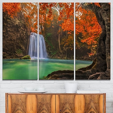 Erawan Waterfall Photography Metal Wall Art, 36x28, 3 Panels, (MT6460-36-28)