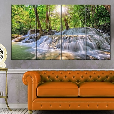 Kanchanaburi Waterfall Photography Metal Wall Art, 48x28, 4 Panels, (MT6461-271)