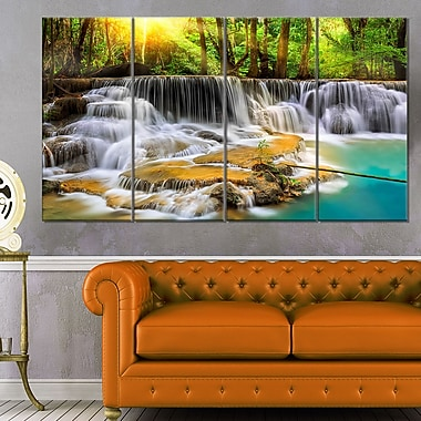 Kanchanaburi Province Waterfall Metal Wall Art, 48x28, 4 Panels, (MT6463-271)