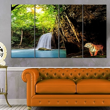 Tiger Watching Waterfall Landscape Metal Wall Art, 48x28, 4 Panels, (MT6465-271)