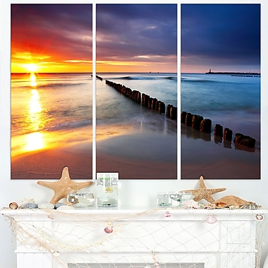 Baltic Sea Poland Beach Photography Metal Wall Art, 36x28, 3 Panels, (MT6467-36-28)