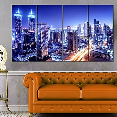 Dubai Downtown Night Scene Cityscape Metal Wall Art, 48x28, 4 Panels, (MT6470-271)