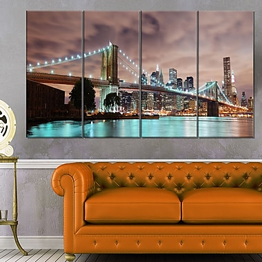 New York City Panorama Cityscape Metal Wall Art, 48x28, 4 Panels, (MT6471-271)