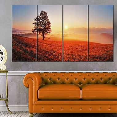 Tree and Sun Landscape Photography Metal Wall Art, 48x28, 4 Panels, (MT6472-271)