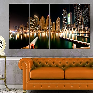 Dubai Marine Skyline Photography Metal Wall Art, 48x28, 4 Panels, (MT6473-271)