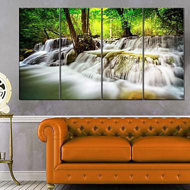 Erawan Waterfall Landscape Photo Metal Wall Art, 48x28, 4 Panels, (MT6474-271)
