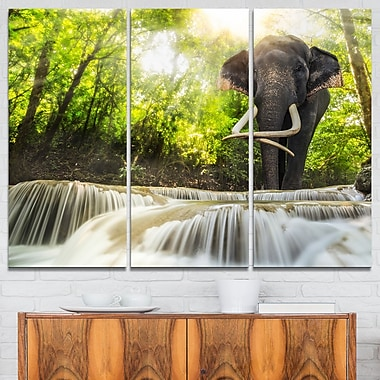 Erawan Waterfall with Elephant Metal Wall Art, 36x28, 3 Panels, (MT6475-36-28)