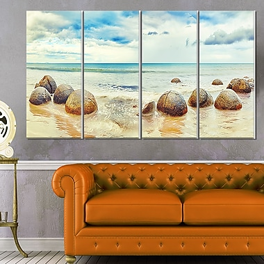 Moeraki Boulders Landscape Photography Metal Wall Art, 48x28, 4 Panels, (MT6477-271)