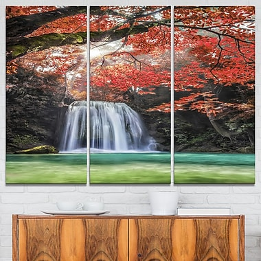 Erawan Waterfall Photography Metal Wall Art, 36x28, 3 Panels, (MT6478-36-28)