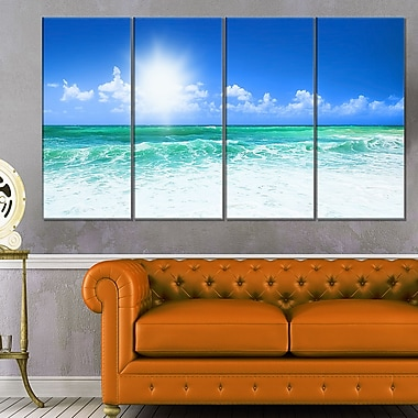 Beautiful Blue Beach Seascape Photography Metal Wall Art, 48x28, 4 Panel, (MT6479-271)