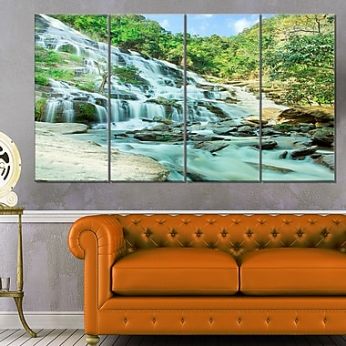 Maeyar Waterfall Landscape Photography Metal Wall Art, 48x28, 4 Panels, (MT6480-271)