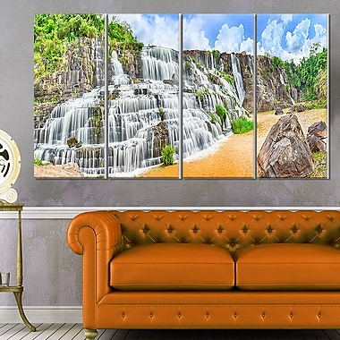 Pongour Waterfall Photography Metal Wall Art, 48x28, 4 Panels, (MT6484-271)