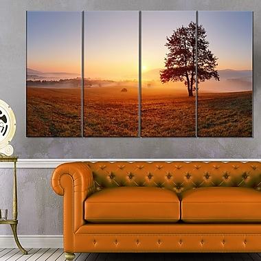 Lonely Tree at Sunset Landscape Metal Wall Art, 48x28, 4 Panels, (MT6485-271)
