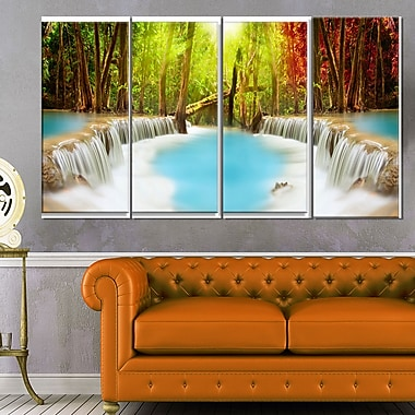Huai Mae Kamin Waterfall Photography Metal Wall Art, 48x28, 4 Panels, (MT6486-271)