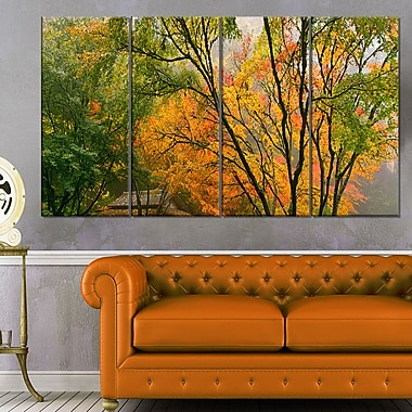 Canopy of Maple Trees in Fall Floral Metal Wall Art, 48x28, 4 Panels, (MT6487-271)