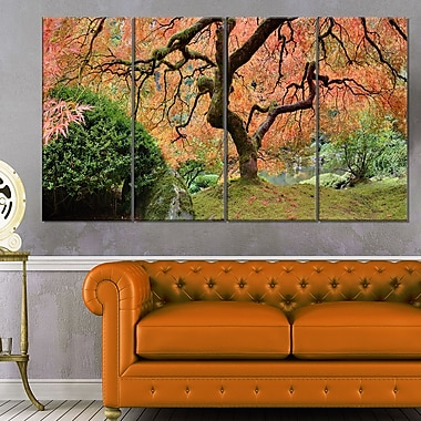 Old Japanese Maple Tree Landscape Metal Wall Art, 48x28, 4 Panels, (MT6488-271)