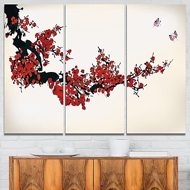 Floral Winter Sweet Digital Art, Floral Metal Wall Art, 36x28, 3 Panels, (MT6489-36-28)