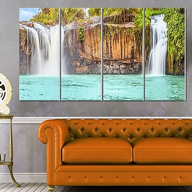Dry Sap Waterfall Photography Metal Wall Art, 48x28, 4 Panels, (MT6490-271)