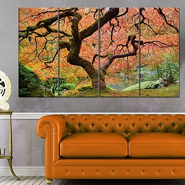 Autumn Maple Tree Landscape Photography Metal Wall Art, 48x28, 4 Panels, (MT6493-271)