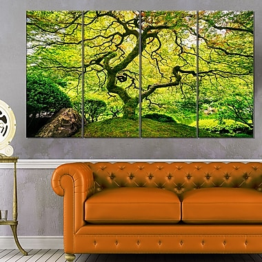 Amazing Green Tree Photography Metal Wall Art, 48x28, 4 Panels, (MT6494-271)