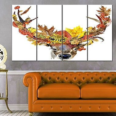 Roe Deer with Flowers Digital Art, Floral Metal Wall Art, 48x28, 4 Panels, (MT6499-271)