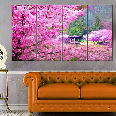 Japanese Cherry Flowers Floral Metal Wall Art, 48x28, 4 Panels, (MT6500-271)