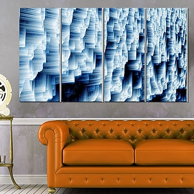 Abstract Blue Ice Photography Metal Wall Art, 48x28, 4 Panels, (MT6502-271)