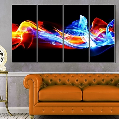 Fire and Ice Digital Art, Abstract Metal Wall Art, 48x28, 4 Panels, (MT6503-271)