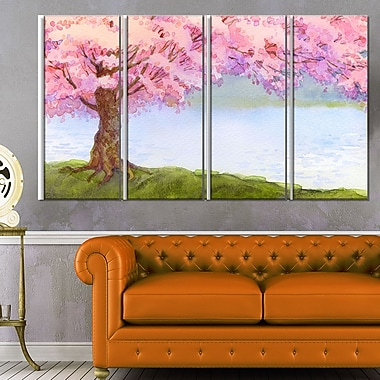 Flowering Pink Tree by Lake Floral Metal Wall Art, 48x28, 4 Panels, (MT6504-271)