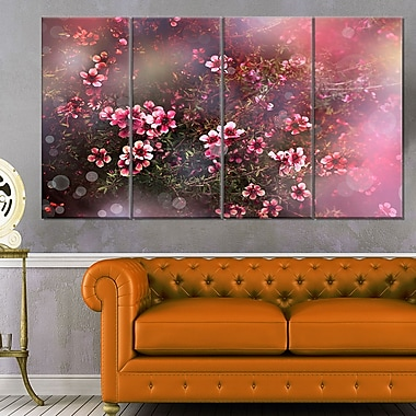 Sakura Japanese Cherry Photography Floral Metal Wall Art, 48x28, 4 Panel, (MT6505-271)