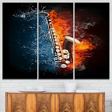 Saxophone Music Photography Metal Wall Art, 36x28, 3 Panels, (MT6508-36-28)