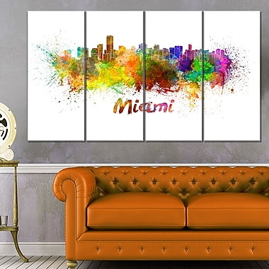 Miami Skyline Cityscape Metal Wall Art, 48x28, 4 Panels, (MT6509-271)