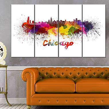 Chicago Skyline Cityscape Metal Wall Art, 48x28, 4 Panels, (MT6510-271)
