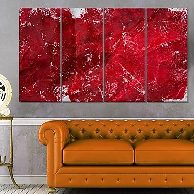 Art mural en métal abstrait texturé rouge