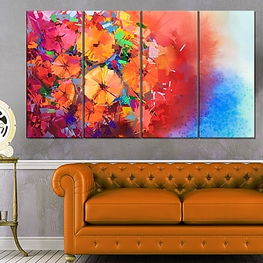 Bouquet of Gerbera Flowers Floral Metal Wall Art, 48x28, 4 Panels, (MT6517-271)