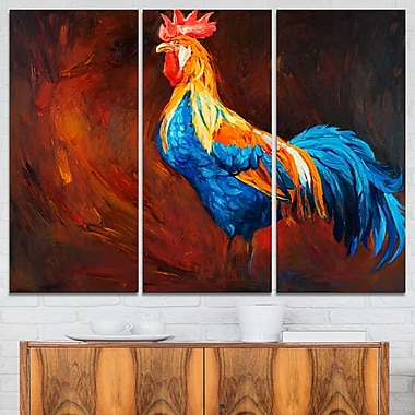 Blue and Orange Rooster Animal Metal Wall Art, 36x28, 3 Panels, (MT6518-36-28)