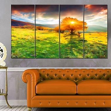 Lonely Autumn Tree Landscape Metal Wall Art, 48x28, 4 Panels, (MT6519-271)