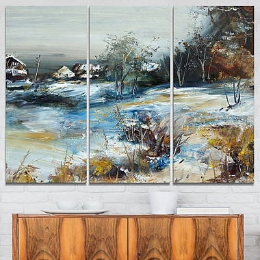 Village in Winter Landscape Metal Wall Art, 36x28, 3 Panels, (MT6523-36-28)