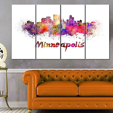Minneapolis Skyline Cityscape Metal Wall Art, 48x28, 4 Panels, (MT6524-271)