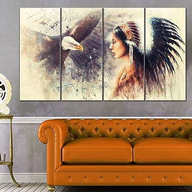 Indian Woman and Eagle Portrait Metal Wall Art, 48x28, 4 Panels, (MT6526-271)