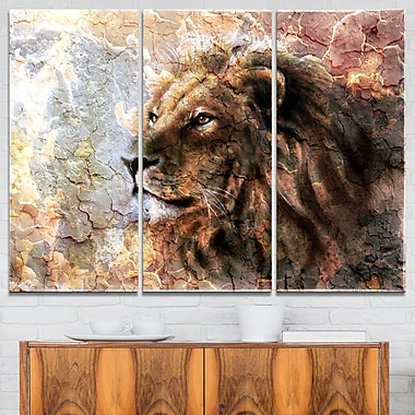 Peaceful Lion Animal Metal Wall Art, 36x28, 3 Panels, (MT6528-36-28)