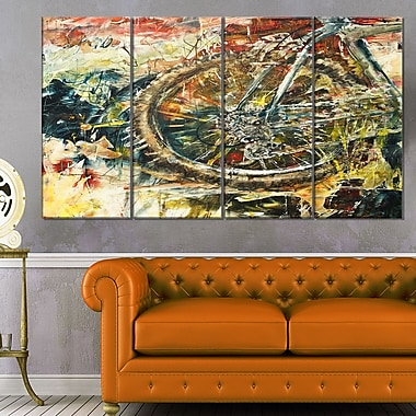 Mountain Bike Oil Painting Metal Wall Art, 48x28, 4 Panels, (MT6529-271)