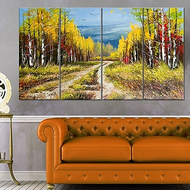 Golden Autumn Landscape Metal Wall Art, 48x28, 4 Panels, (MT6532-271)