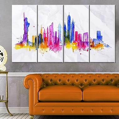Silhouette Overlay New York Cityscape Metal Wall Art