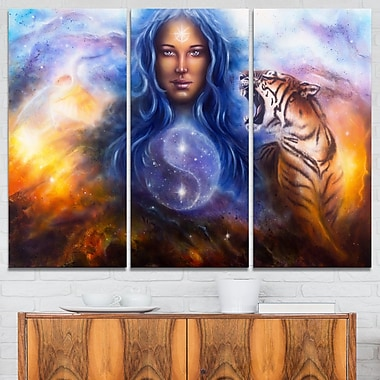 Female Goddess Lada Portrait Metal Wall Art, 36x28, 3 Panels, (MT6537-36-28)