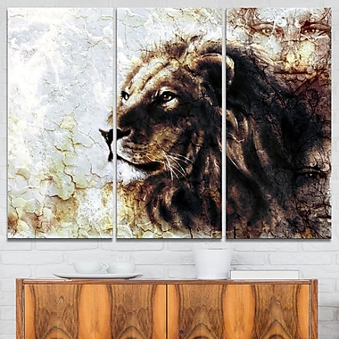 Mystic Face Animal Metal Wall Art, 36x28, 3 Panels, (MT6538-36-28)