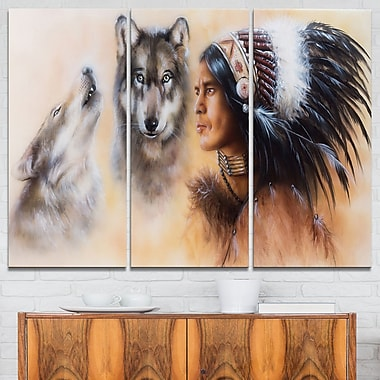 Indian Warrior with Two Wolves Animal Metal Wall Art, 36x28, 3 Panels, (MT6539-36-28)