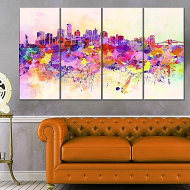 Purple New York Skyline Cityscape Metal Wall Art, 48x28, 4 Panels, (MT6540-271)