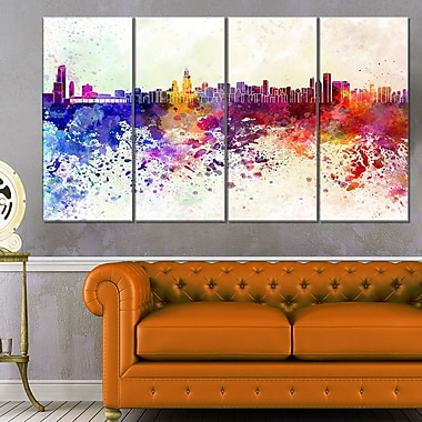 Chicago Skyline Cityscape Metal Wall Art, 48x28, 4 Panels, (MT6542-271)