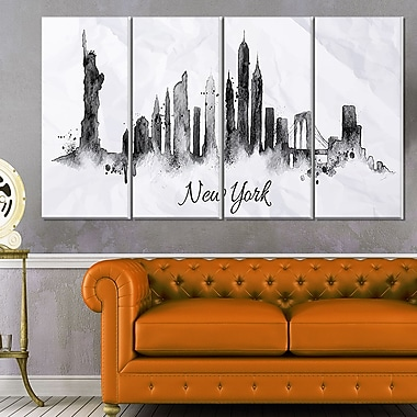 Silhouette Ink New York Cityscape Metal Wall Art, 48x28, 4 Panels, (MT6546-271)